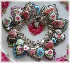 Vintage Sterling Heart Charm Bracelet Guilloche Mosaics by thevintageheart, .....Beanzie's bracelets are like sweet cake frosting!