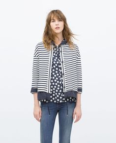 Image 1 of FLOWING STRIPED JACKET from Zara