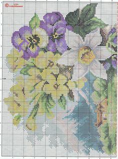 Tableau fleurs en point de croix