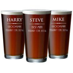 3 Engraved Beer Glasses Cool Groomsmen Gift Ideas by ShopFroolu Best Groomsmen Gifts, Groomsman Gifts, Beer Caddy, Etched Glassware, Pint Glass, Gift Ideas, Glasses, Cool Stuff, Tableware