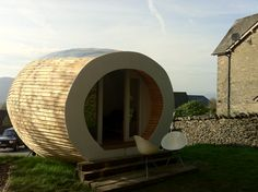 The Pod provides massive 460 sq ft living space to any eco-minded - HomeCrux Eco Pods, Camping Pod, Office Pods, Cedar Cladding, Eco Garden, Outdoor Office, Tiny House Cabin, Tiny Houses, Living Place