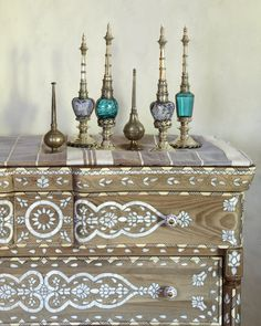 Moroccan Decor for a Modern Home / Cabinet / Moroccan & Oriental Perfume Bottles /