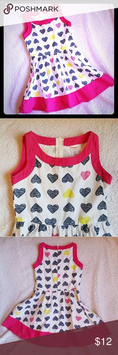 Heart Dress Cotton heart patterned dress.  Zipper down the back.  No liner.   Navy, pink, and lime green heart pattern. Gymboree Dresses Casual