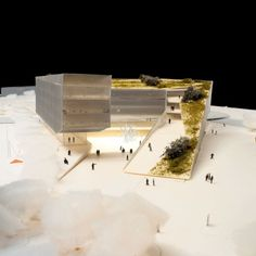 Mario Cucinella Architects maquette dak groen patio collectief concept kantoor