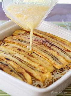 Sweet strips of plantains are layered with savory picadillo and cheese. It's that sweet salty thing that makes this taste SOOOO good!  It's Hispanic heritage month and in it's honor I thought this delicious Puerto Rican comfort dish (made light of course) would be an excellent recipe to honor it. My Mom is from Colombia, so we grew up eating plantains a lot in my home.     Plantains are like a cousin to the banana, and depending on the ripeness you'll cook them in different ways. For this…