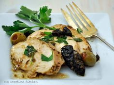 My Carolina Kitchen: Chicken Marbella recreated into cocktail food for a party buffet