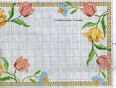Geri Dönüşüm Projeleri Cross Stitch Borders, Cross Stitch Flowers, Cross Stitch Designs, Cross Stitch Patterns, Hardanger Embroidery, Cross Stitch Embroidery, Have A Nice Afternoon, Rico Design, Manta Crochet