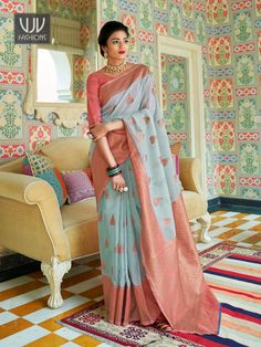 Rs3,100.00 Designer Silk Sarees, Designer Sarees Online, Anarkali, Lehenga, Turquoise Blue Color, Blue Saree, Casual Saree, Linen Blouse, Traditional Sarees