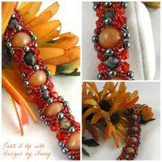 Burnt Orange Swarovski Hematite Dolomite Hand Beaded bangle bracelet