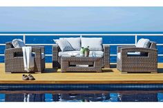 Enjoy entertaining outdoors this summer with the Hampton 4 Piece Outdoor Lounge Setting. This outdoor setting is made with beautifully durable materials featuring a glass top coffee table, a 2-seater sofa and two comfortable chairs. What better way to enjoy the outdoors than with this modern, gorgeous outdoor setting.
