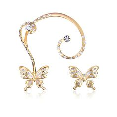 Rhinestone Butterfly Gold Plated Ear Stud Cuff Earrings is designed to show your charm, buy Rhinestone Butterfly Gold Plated Ear Stud Cuff Earrings now! Cuff Earrings, Rhinestone Earrings, Ear Cuffs Online, Butterfly Earrings, Unisex, Ear Studs, 18k Gold, Plating, Women Jewelry