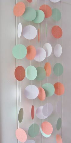 10ft Coral, Mint Green and White Circle Garland, Wedding Garland, Bridal Shower Decoration, Baby Shower Decoration, Party Garland, Birthday