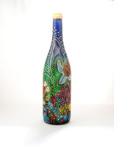 Wine Bottle hand painted, Painted Sea Turtles Magic Message in a Bottle. $55.00, via Etsy.