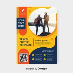 Travel flyer template with photo Free Vector Graphic Design Brochure, Graphic Design Posters, Graphic Design Inspiration, Poster Designs, Web Design, Flyer Design, Design Art, Modele Flyer, A4 Poster
