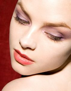 lavender eyes and coral lips