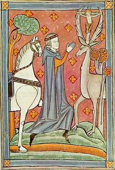 St. Eustace, 13th c. English ms. Venice, Marciana Library.