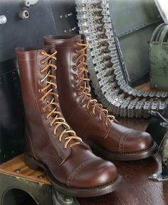 WWII corcoran jump boots in brown.
