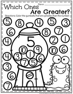 Comparing Numbers Worksheets Kindergarten Math