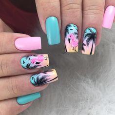 nail art designs ten nail & makeup studio klang blue prom dress makeup nail design ten nail & makeup studio nail makeup and makeup salon design prom dress makeup nail design hansen chrome nail makeup Best Acrylic Nails, Summer Acrylic Nails, Acrylic Nail Designs, Summer Nails, Nail Art Designs, Stylish Nails, Trendy Nails, Cute Nails, Flamingo Nails