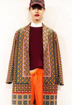 J. Crew Collection, F/W 2013, cap, patterned coat, track pants / Garance Doré