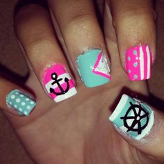 Ok.. So the actual painting of these is pretty crappy but pinning cuz the design is cute - Summer nail art