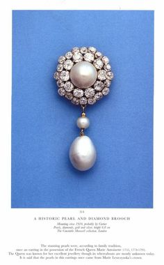 Historic Pearl And Diamond Brooch - Mounrting - Probably By Cartier - Pearls, Diamonds, Gold And Silver - Perle de Marie-Antoinette (=) Royal Jewelry, Bling Jewelry, Pearl Jewelry, Antique Jewelry, Jewelry Accessories, Vintage Jewelry, Jewelry Design, 1920s Jewelry, Antique Brooches