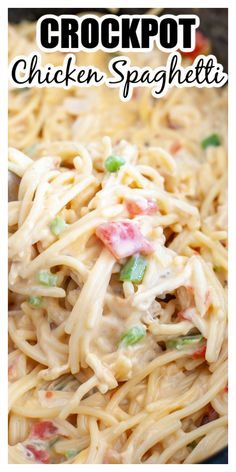 This easy crockpot chicken spaghetti is comfort food at it's best. Creamy spaghetti with cheese and chicken come together for a delicious crockpot chicken recipe. Yummy Chicken Recipes, Easy Pasta Recipes, Beef Recipes, Dinner Recipes, Dinner Ideas, Cooker Recipes, Delicious Recipes, Best Crockpot Chicken, Noodles