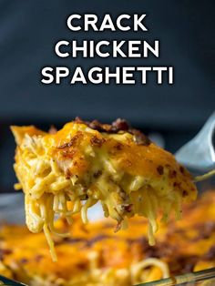 Crack Chicken Spaghetti - such an easy weeknight dinner
