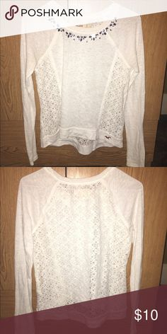 Hollister long sleeve White long sleeve embellished shirt Hollister Tops Tees - Long Sleeve