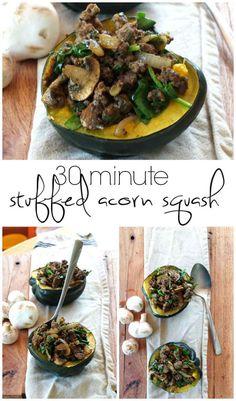 30 Min Stuffed Acorn Squash | Cook It Up Paleo