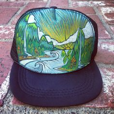 d3a54c3121620 Items similar to Hand Painted Trucker Hat by Roupolimama on Etsy