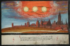16th-century painting from the Augsburger Wunderzeichenbuch of three suns supposedly shining at once in 1533, likely depicting a sun dog illusion (Courtesy Day & Faber)