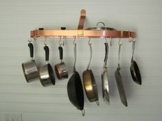 Furniture : Hanging Circle Pot Rack Design Come With Copper Material And Also Stainless Steel Pan For Minimalist Kitchen Room - Charming Kitchen Rack Decoration Ideas Minimalist Home Decor, Minimalist Kitchen, Minimalist Interior, Minimalist Living, Minimalist Bedroom, Modern Minimalist, Pot Rack Hanging, Hanging Pots, Tidy Kitchen