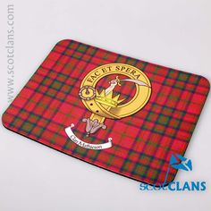 Mathewson Clan Crest and Tartan Mouse Mat. Free worldwide shipping available