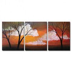 Hand-painted Oil Painting Landscape Oversized Wide Set of 3 - OutletsArt.com