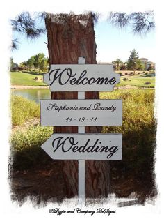 DiReCTioNaL WeDDiNg SiGnS  CuSToM WeLCoMe by lizzieandcompany