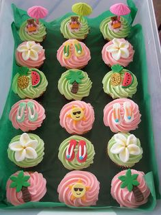 jama rattigan's alphabet soup - soup of the day (and a giveaway): it's raining cupcakes by lisa schroeder! Hawaiian Cupcakes, Summer Cupcakes, Hawaiian Luau Party, Hawaiian Birthday, Luau Birthday, Tropical Party, Birthday Ideas, Beach Cupcakes, Cupcake Party