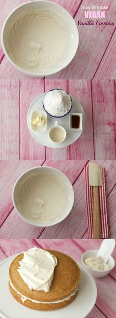 Smooth and creamy vegan vanilla frosting recipe - ideal for cakes, cupcakes and cookies http://lovingitvegan.com/how-to-make-vegan-vanilla-frosting/