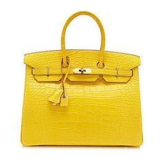 35 35 HERMES Birkin mimosa alligator mat gold metal fittings handbag  crocodile yellow Birkin bag Mimosa Crocodile Alligator Mat Gold Metal  fittings Yellow 52cc996782734