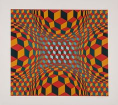 Victor Vasarely (1906-1997) Untitled screenprint in colours, signed in pencil, inscribed F.V.13/60, on wove paper, with full margins, 600 x 675 mm (23 5/8 x 26 1/2 in)