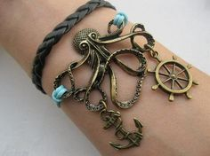 Bracelet octopus leather anchor and wheel by infinitywish