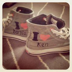Customised converse by moi #converse #grey #barbie #barbieandken #custom #trainers