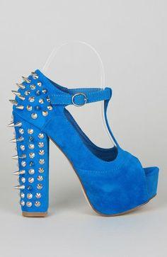 Vintage Francheska-10 Spikes and Studs Chunky Heel Platform T-Strap Sandal - Blue Suede
