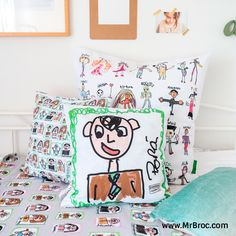 Broc Cojín personalizado para el Día del Padre con los dibujos de los niños. Regalos bonitos y con sentimiento para papá y el abuelo hechos con Broc Studio.