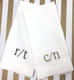 Slash 2 Letter Monogrammed Cloth Napkins, double letter monogrammed napkins, duogram monogrammed napkins, slash 2 letter embroidered napkin by WhiteTulipEmbroidery on Etsy https://www.etsy.com/listing/490300108/slash-2-letter-monogrammed-cloth-napkins