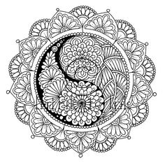 Mandala Colouring Page 64 - Instant Download, illustration, Printable, Meditation, Peace, Joy - Digital Download Only by IntrikateInk on Etsy Mandala Coloring Pages, Adult Coloring Pages, Colouring Pics, Coloring Books, Illustration Fashion, Large Prints, Yin Yang, Zentangles, Wood Burning