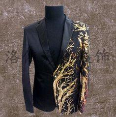 Men plus size Blazer Jacket black Embroidery slim blazer performance male singer dj costume wear suit top nightclub jacket Mens Floral Blazer, Gold Blazer, Glitter Outfit, Gold Outfit, Wedding Dress Men, Wedding Suits, Fancy Suit, Embroidery Fashion, Plus Size Blazer