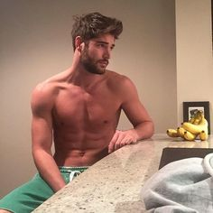 banana, be mine, boyfriend, boys, fitness, fruit, good morning, gorgeous, guy, inspiration, kitchen, male model, perfect, relaxing, six pack, topless, yesss