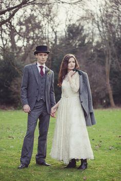 Groom tweed suit with top hat and Bride with matching jacket | walkerslater.com