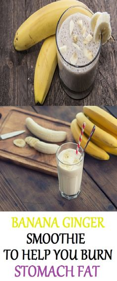 BANANA GINGER SMOOTHIE TO HELP BURN STOMACH FAT Ginger Smoothie, Smoothie Diet, Healthy Smoothies, Healthy Drinks, Smoothie Recipes, Healthy Eating, Healthy Food, Smoothie Packs, Nutribullet Recipes